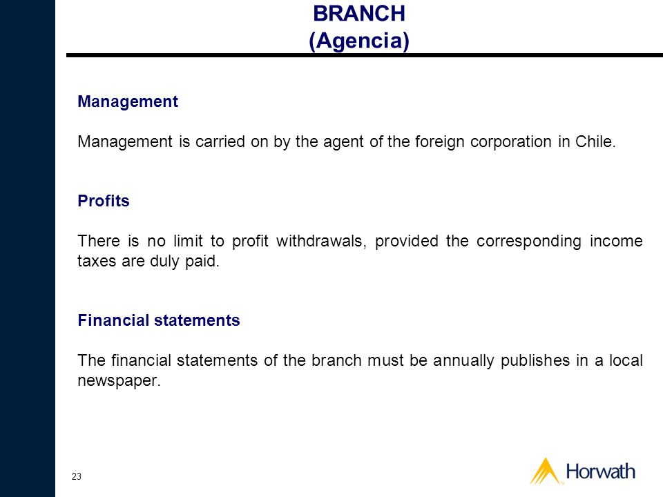 BRANCH (Agencia) Management