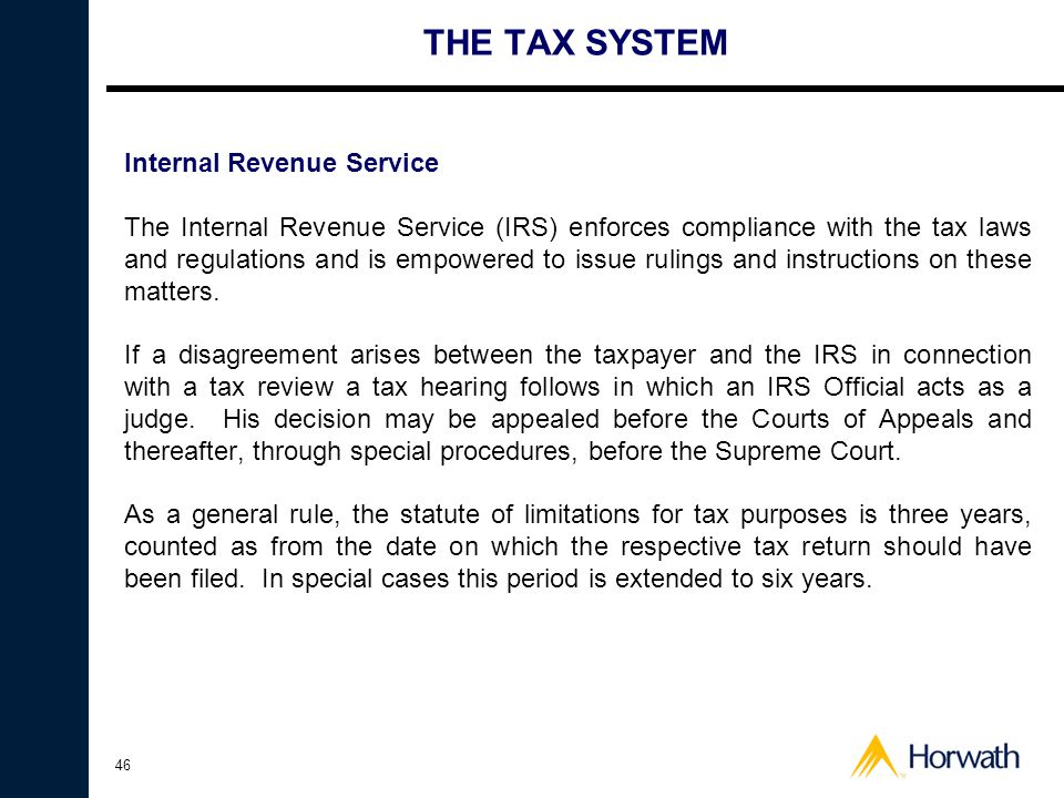 THE TAX SYSTEM Internal Revenue Service