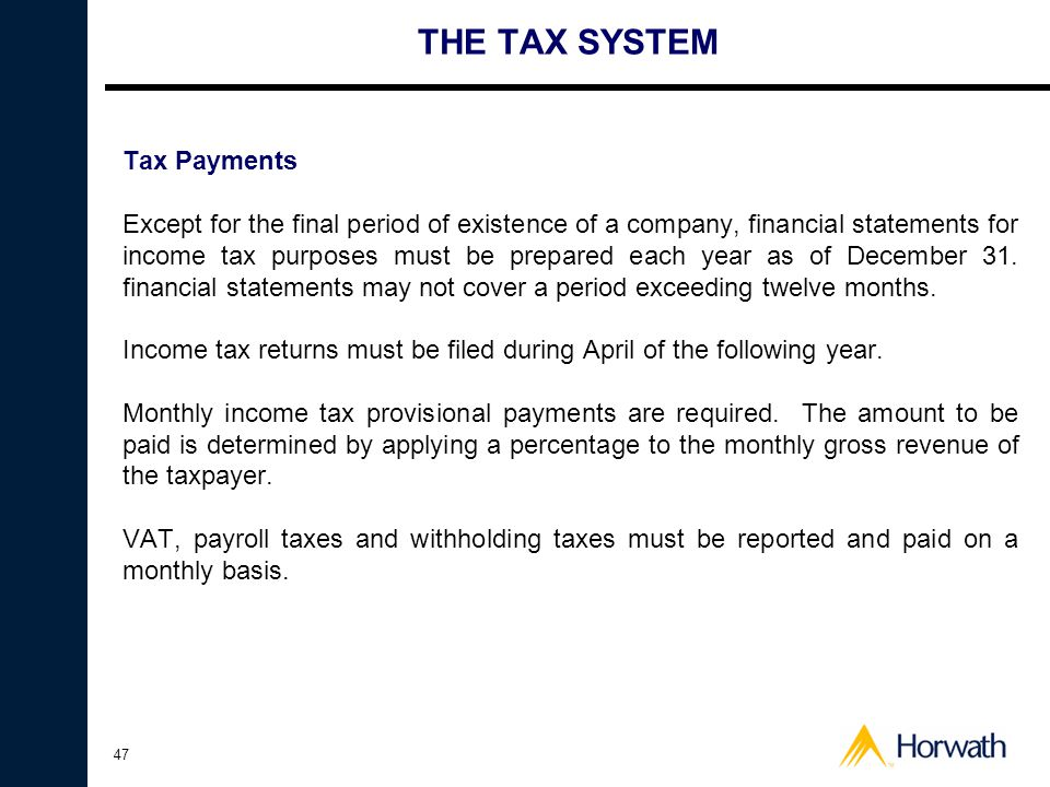 THE TAX SYSTEM Tax Payments