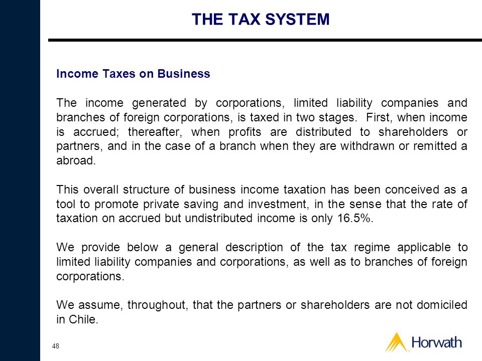 THE TAX SYSTEM Income Taxes on Business