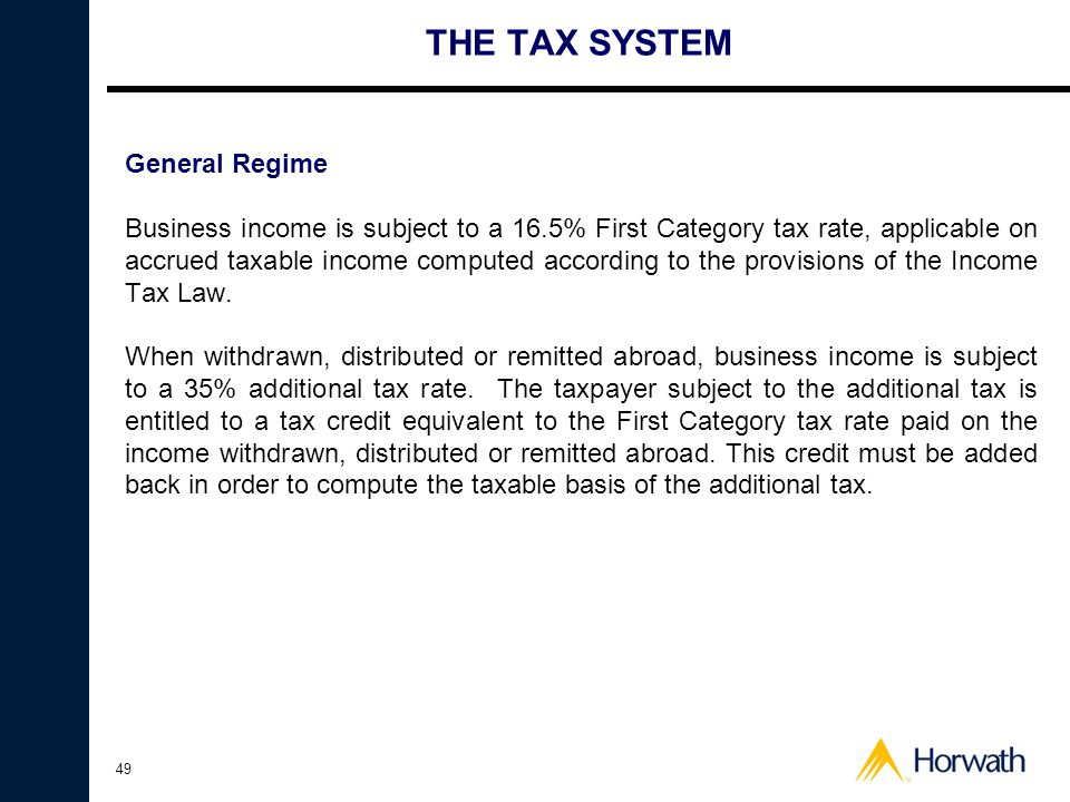 THE TAX SYSTEM General Regime