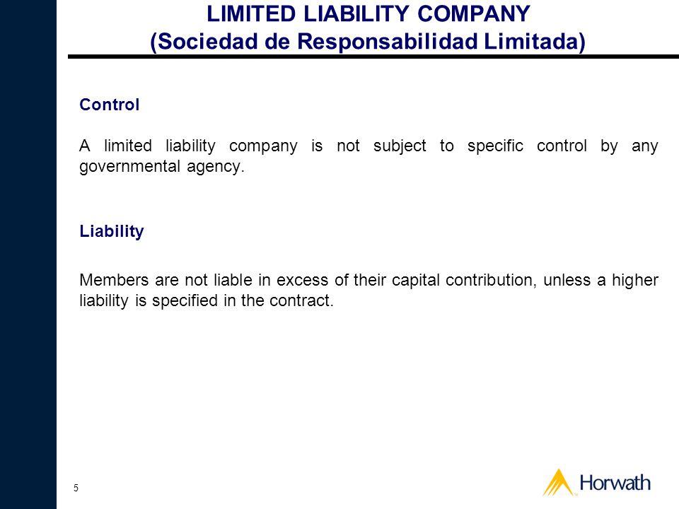 LIMITED LIABILITY COMPANY (Sociedad de Responsabilidad Limitada)
