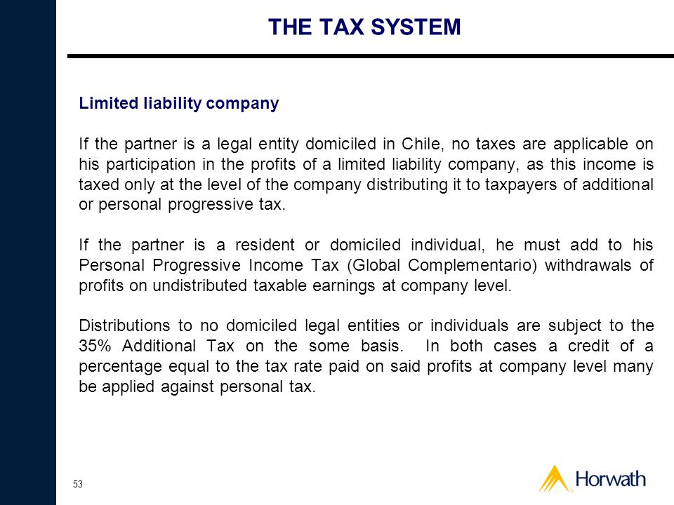 THE TAX SYSTEM Limited liability company