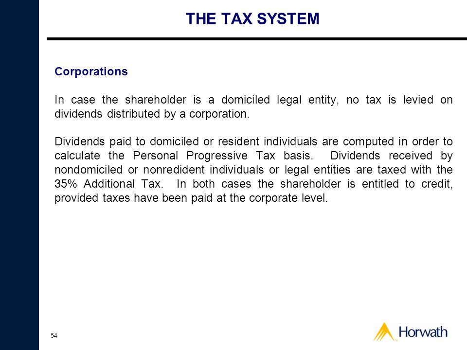THE TAX SYSTEM Corporations