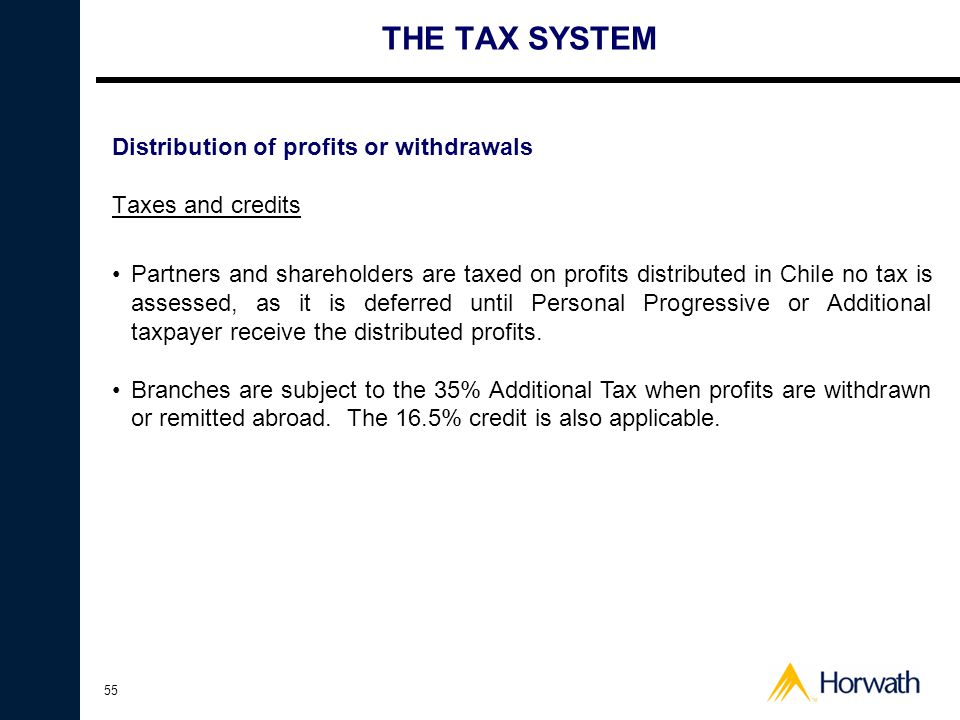 THE TAX SYSTEM Distribution of profits or withdrawals