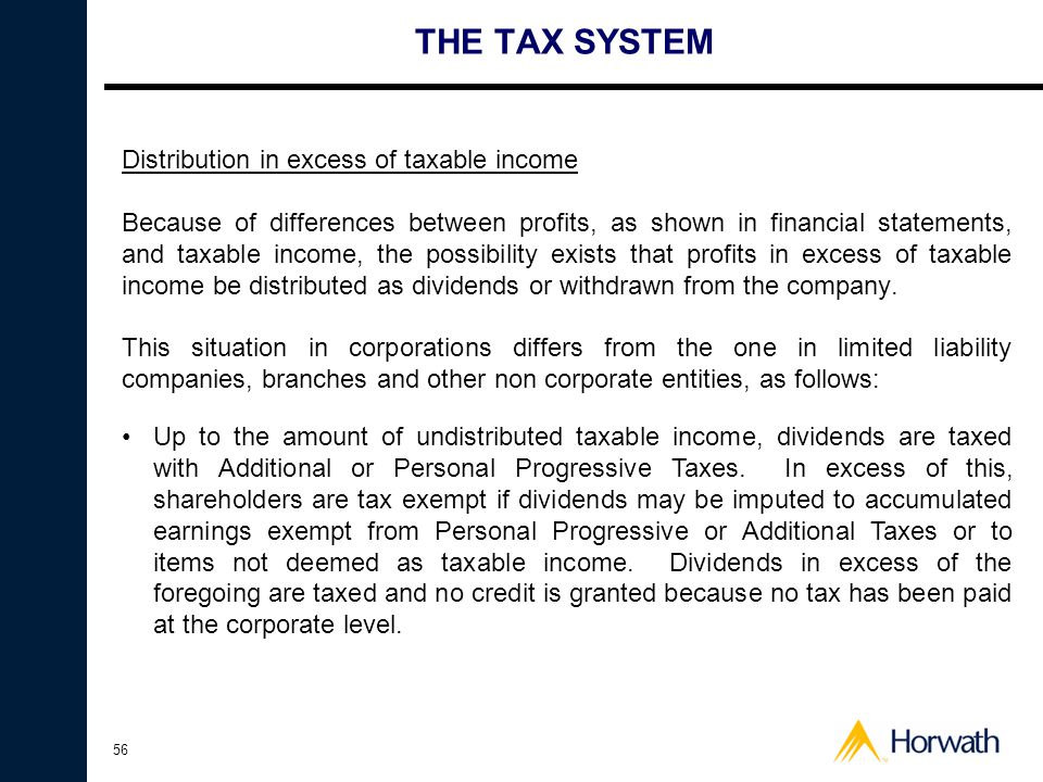 THE TAX SYSTEM Distribution in excess of taxable income