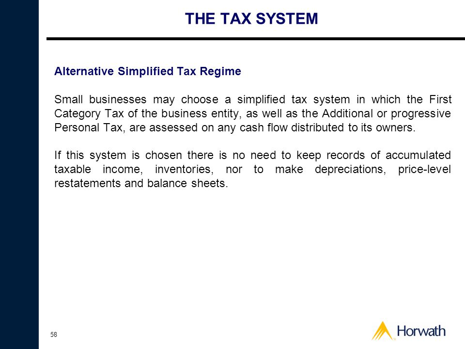 THE TAX SYSTEM Alternative Simplified Tax Regime