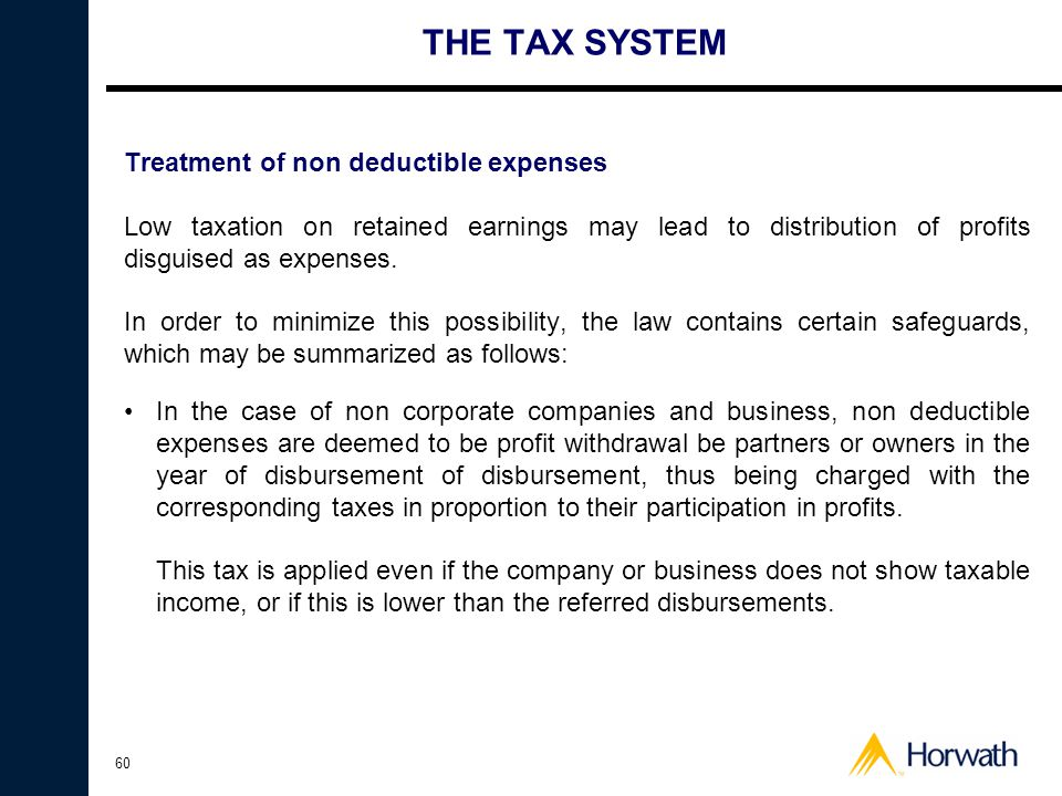 THE TAX SYSTEM Treatment of non deductible expenses