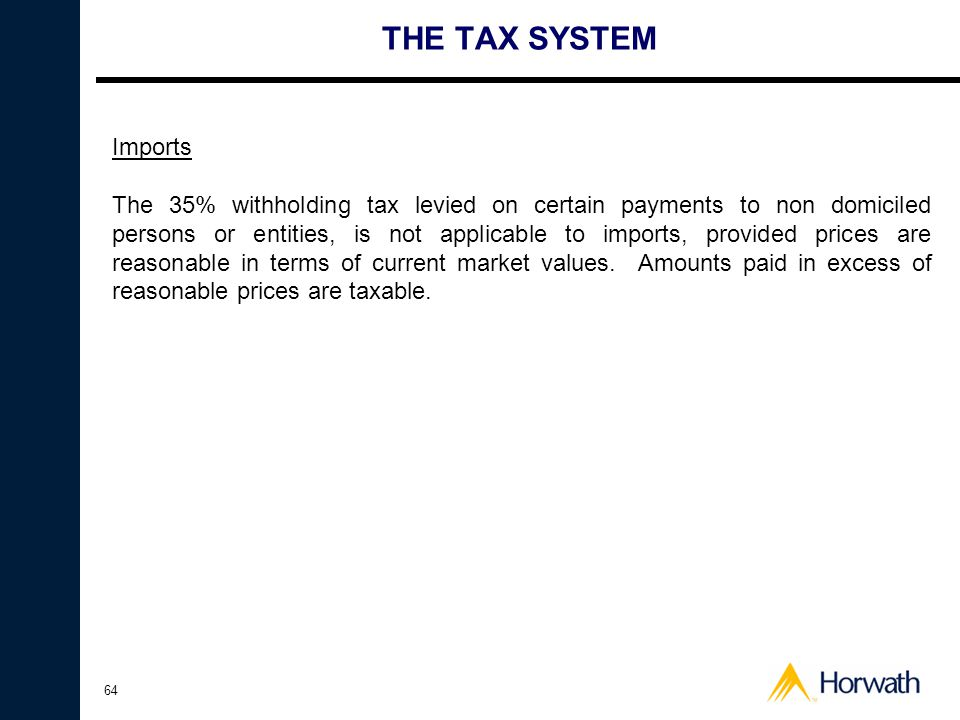 THE TAX SYSTEM Imports.