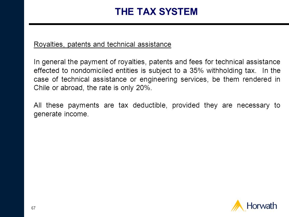 THE TAX SYSTEM Royalties, patents and technical assistance