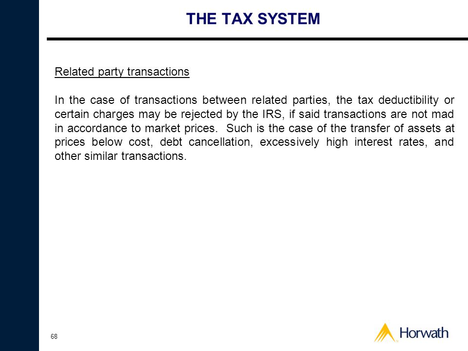 THE TAX SYSTEM Related party transactions