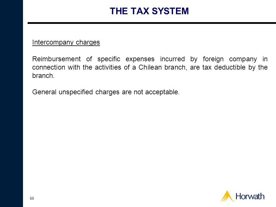 THE TAX SYSTEM Intercompany charges