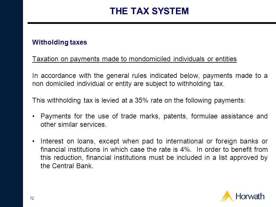 THE TAX SYSTEM Witholding taxes