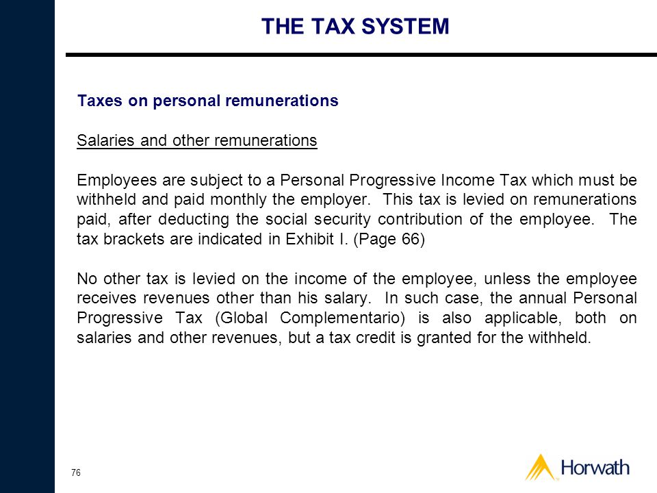 THE TAX SYSTEM Taxes on personal remunerations