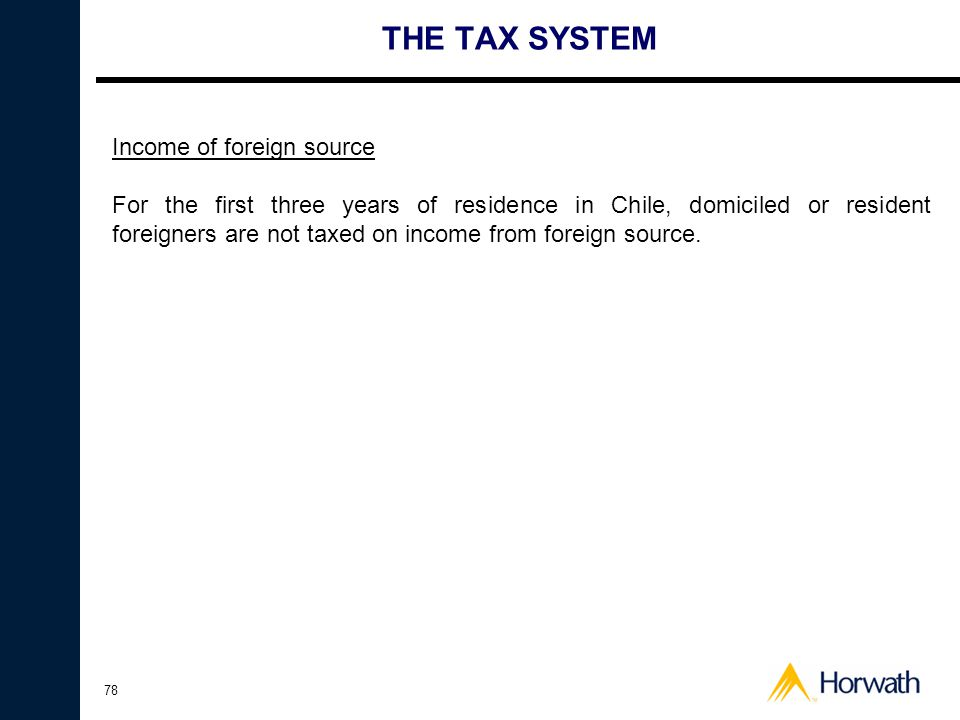 THE TAX SYSTEM Income of foreign source