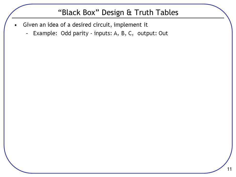Black Box Design & Truth Tables