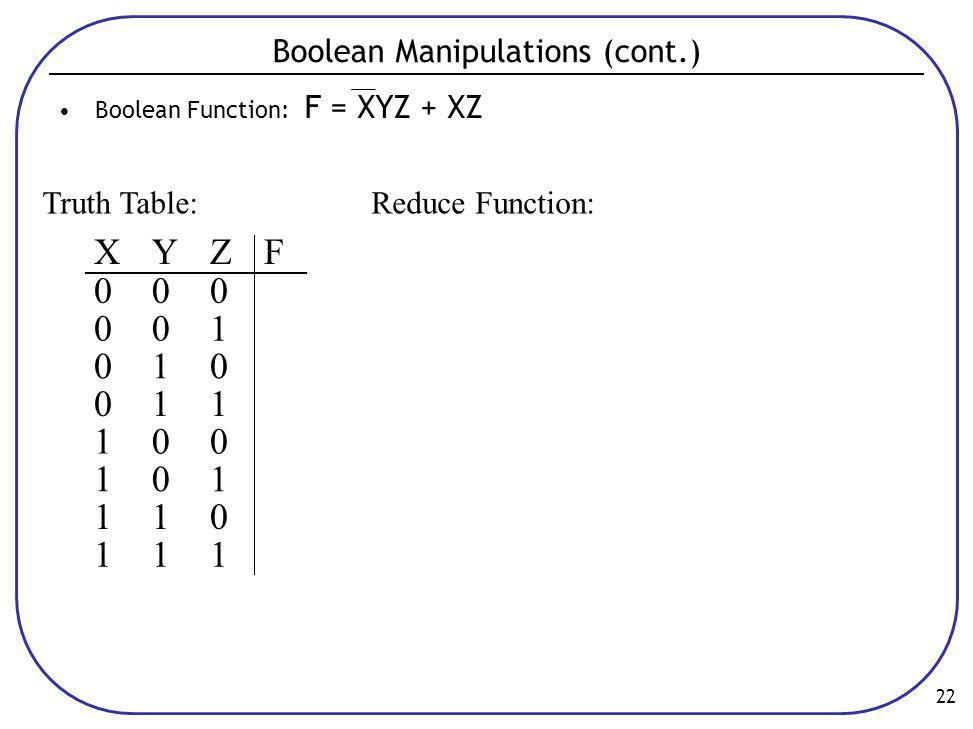 Boolean Manipulations (cont.)