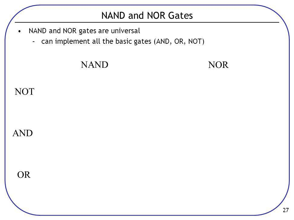NAND and NOR Gates NAND NOR NOT AND OR