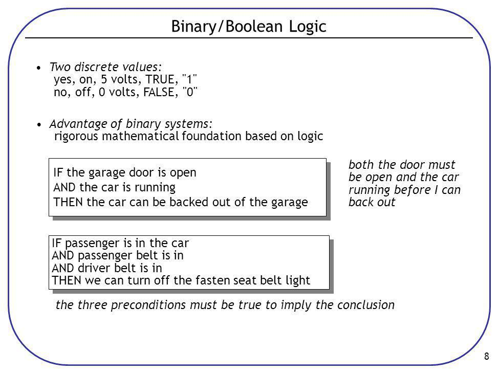 Binary/Boolean Logic • Two discrete values: