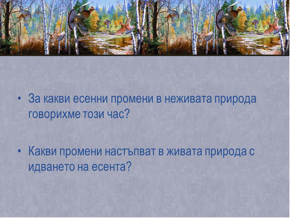 За какви есенни промени в неживата природа говорихме този час