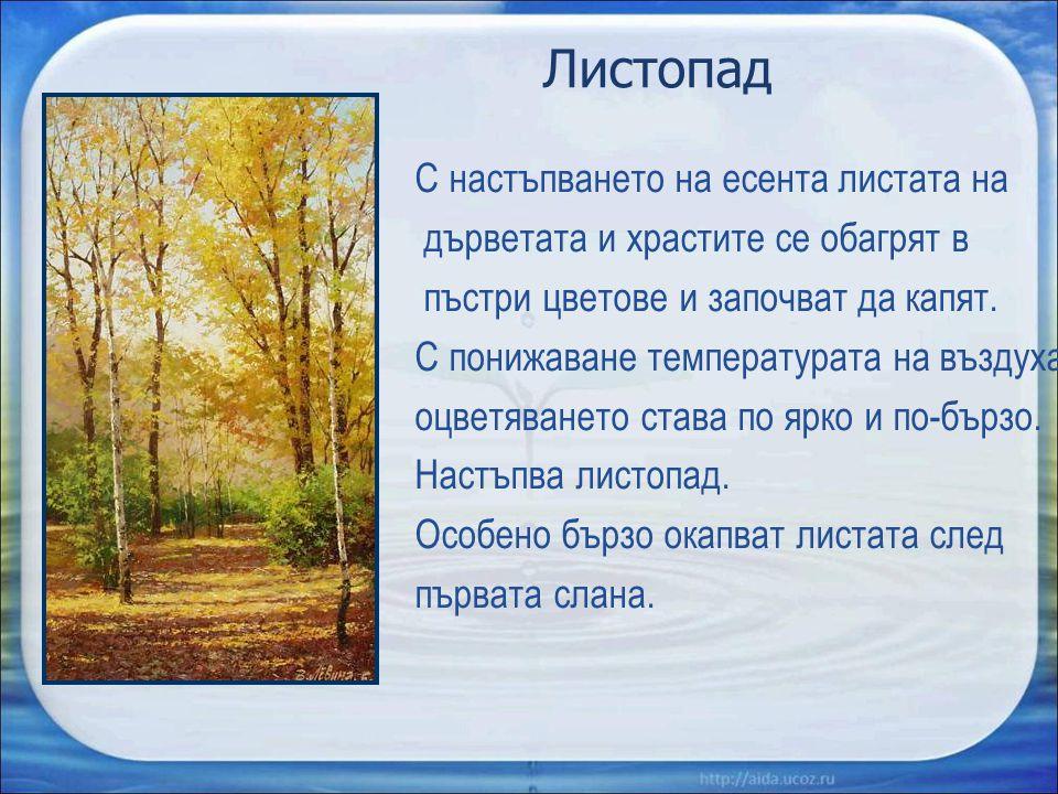 Листопад С настъпването на есента листата на