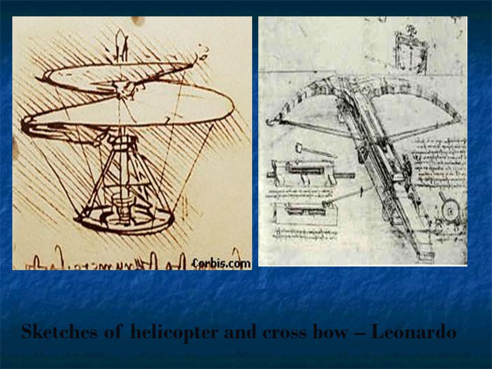 Sketches of helicopter and cross bow – Leonardo