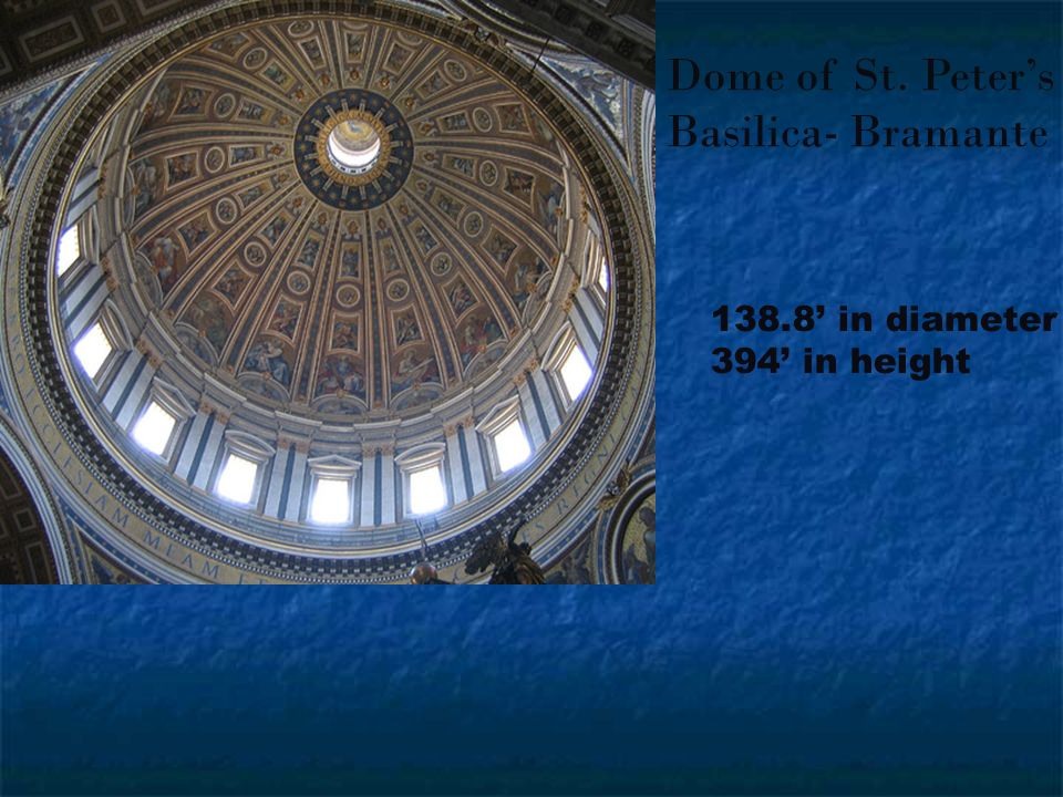 Dome of St. Peter's Basilica- Bramante 138.8' in diameter