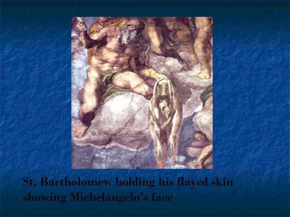 St. Bartholomew holding his flayed skin