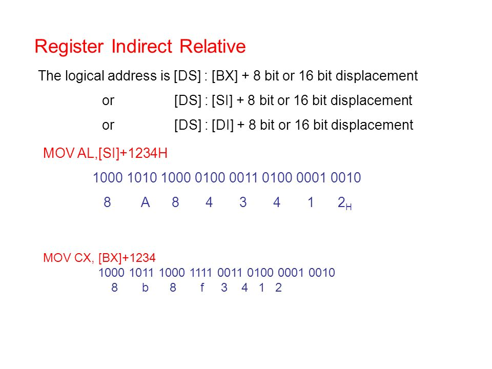 Register Indirect Relative