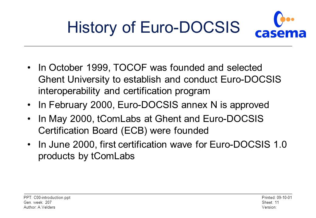 History of Euro-DOCSIS