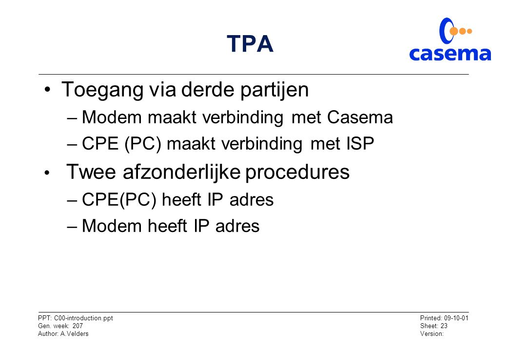 TPA Toegang via derde partijen Modem maakt verbinding met Casema