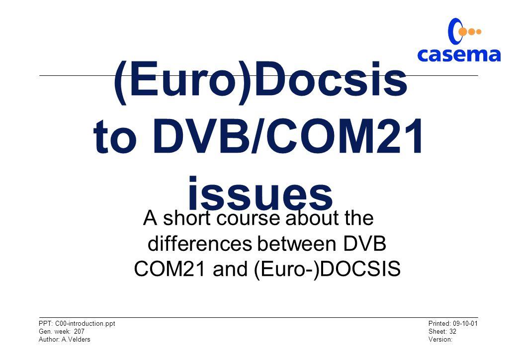 (Euro)Docsis to DVB/COM21 issues