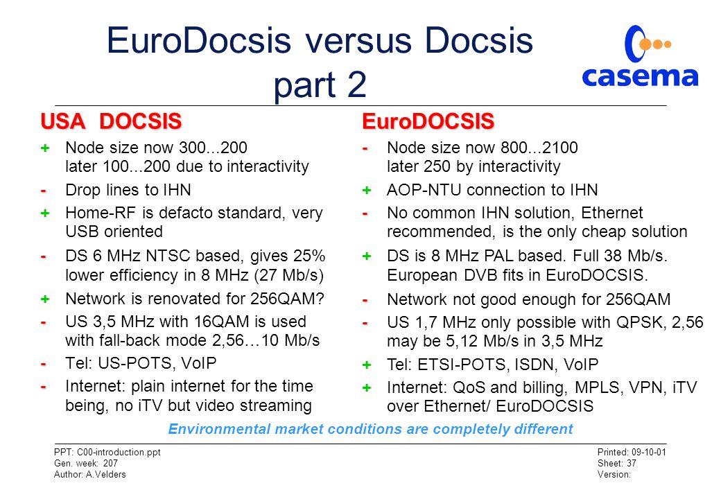 EuroDocsis versus Docsis part 2