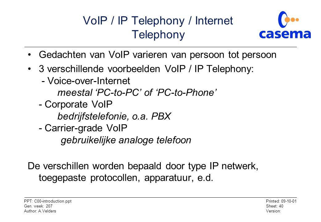 VoIP / IP Telephony / Internet Telephony