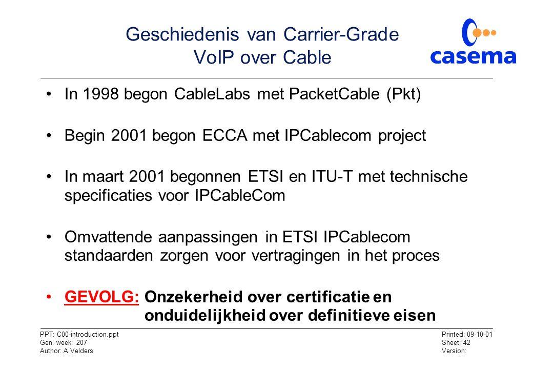Geschiedenis van Carrier-Grade VoIP over Cable