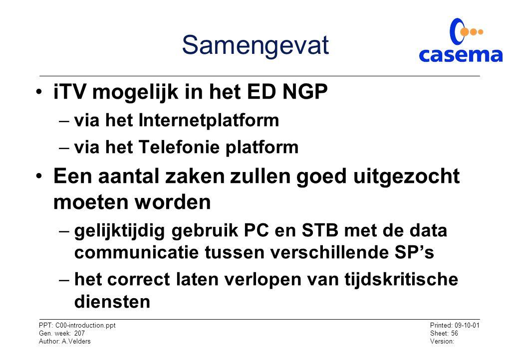 Samengevat iTV mogelijk in het ED NGP