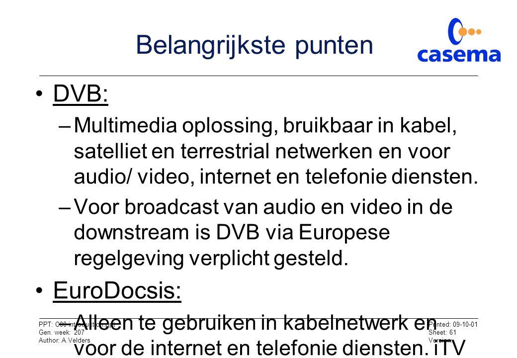 Belangrijkste punten DVB: