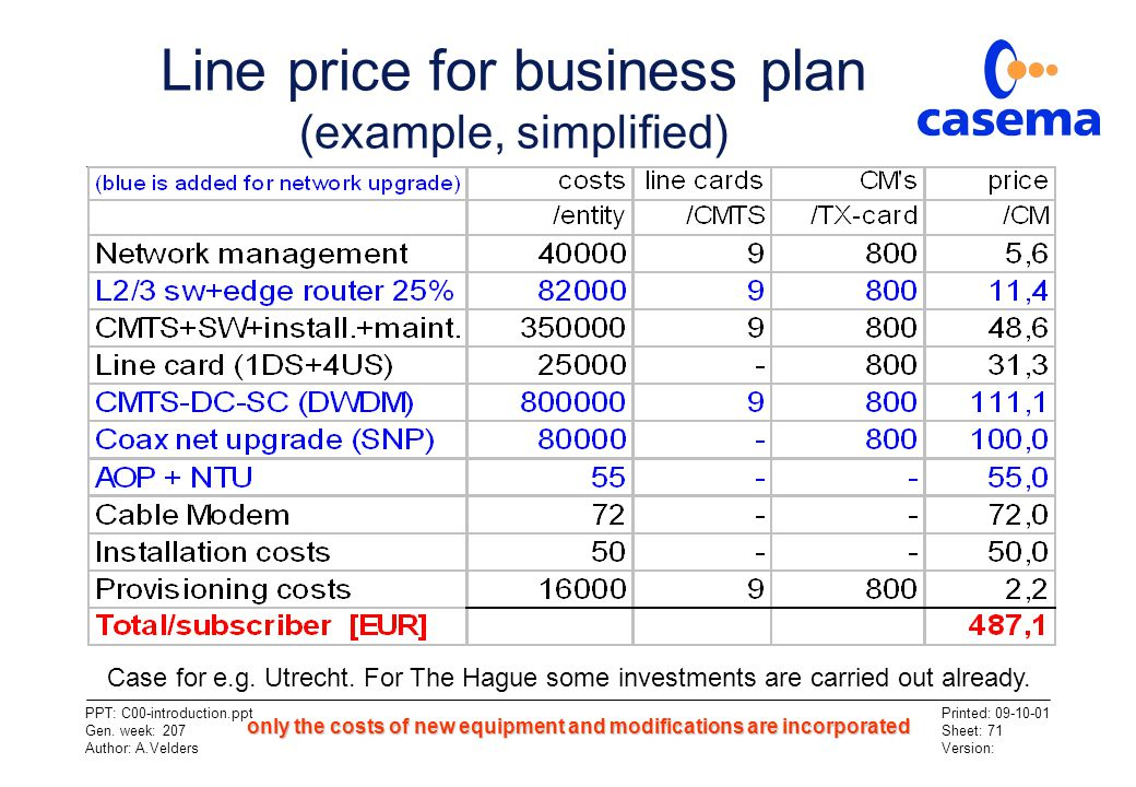Line price for business plan (example, simplified)