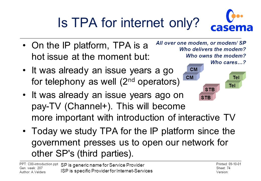 Is TPA for internet only
