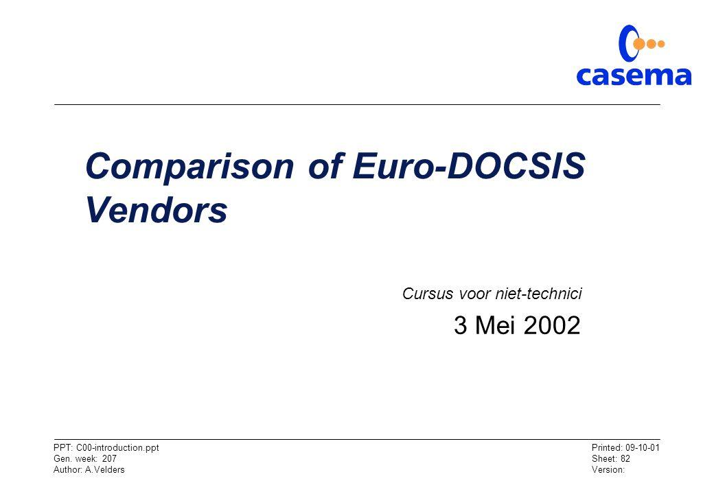 Comparison of Euro-DOCSIS Vendors