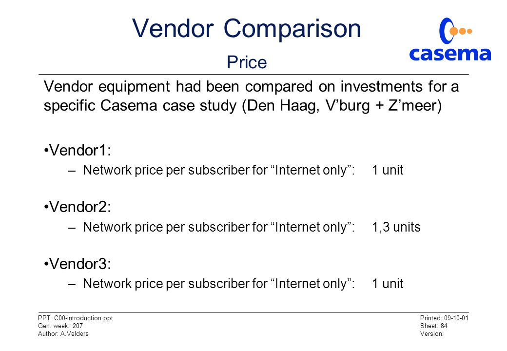 Vendor Comparison Price