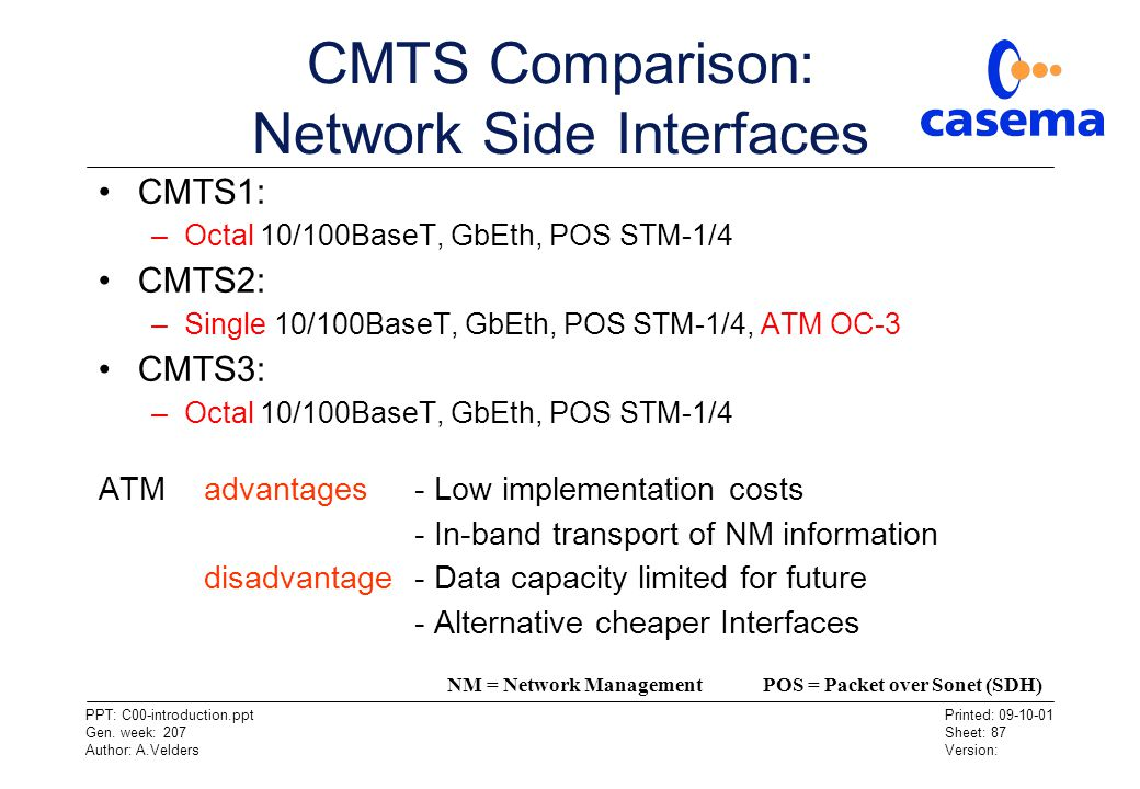 CMTS Comparison: Network Side Interfaces