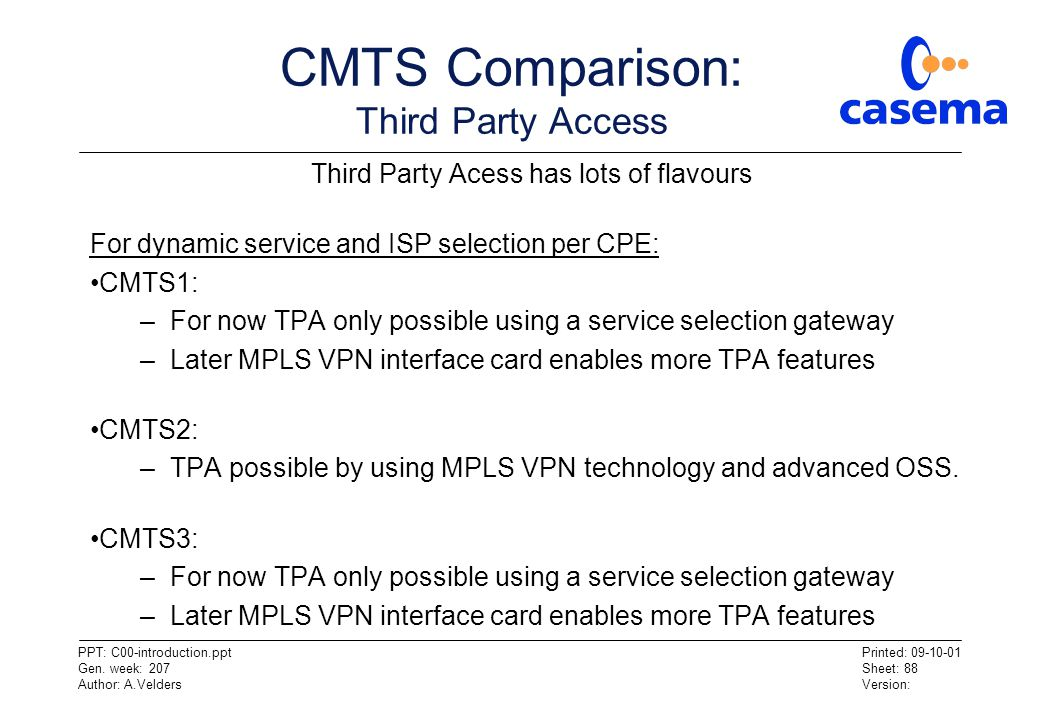 CMTS Comparison: Third Party Access
