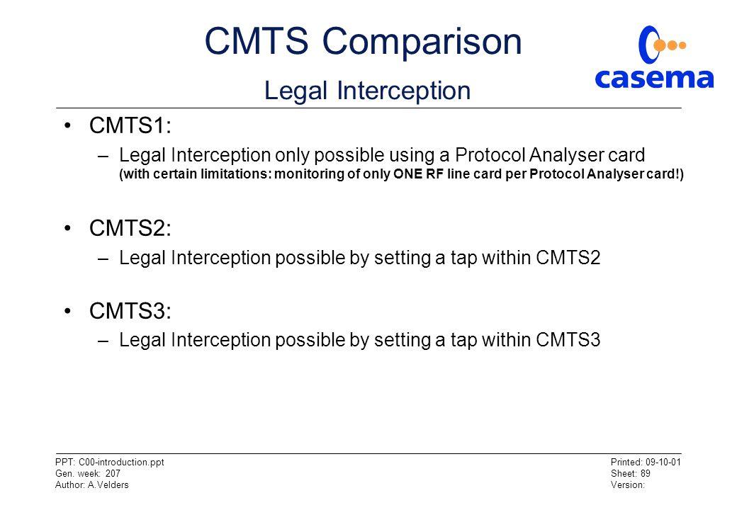 CMTS Comparison Legal Interception