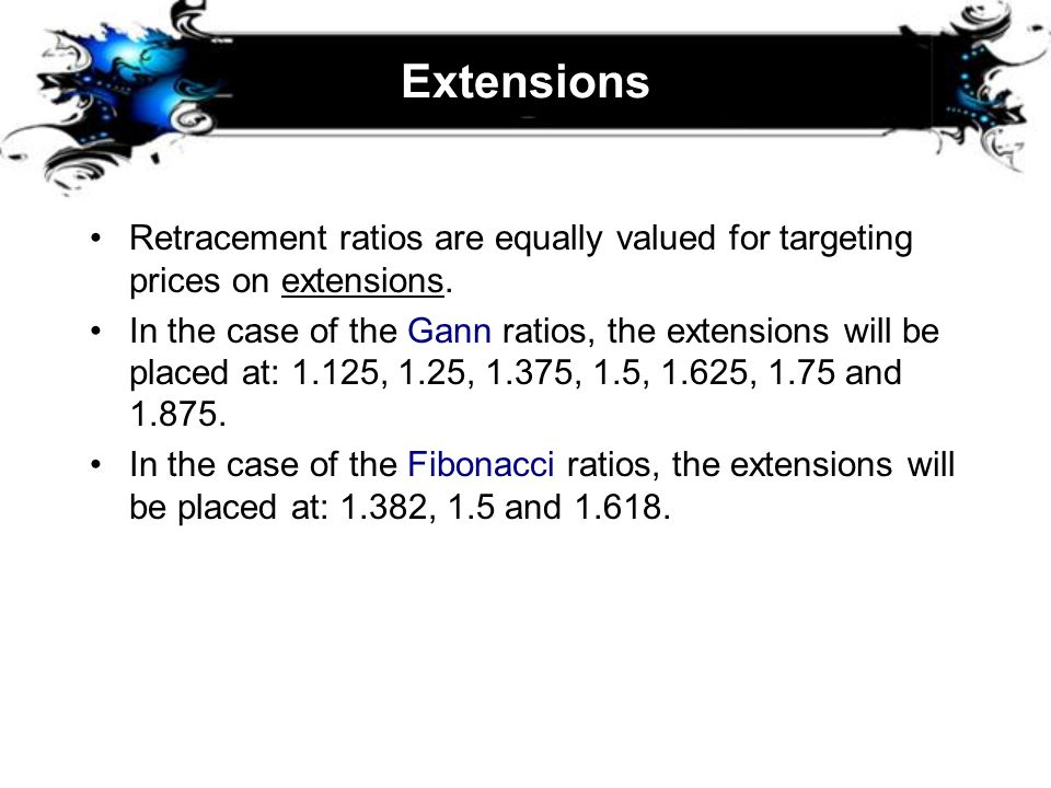 Extensions Retracement ratios are equally valued for targeting prices on extensions.