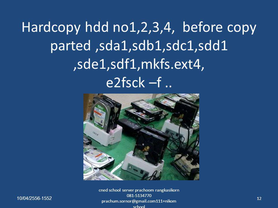 Hardcopy hdd no1,2,3,4, before copy parted ,sda1,sdb1,sdc1,sdd1 ,sde1,sdf1,mkfs.ext4, e2fsck –f ..