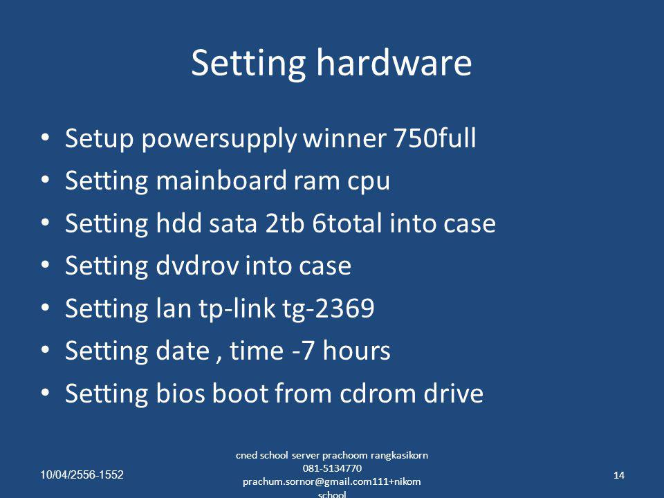 Setting hardware Setup powersupply winner 750full