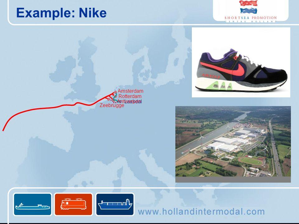 Example: Nike Amsterdam Rotterdam Antwerpen Laakdal Zeebrugge