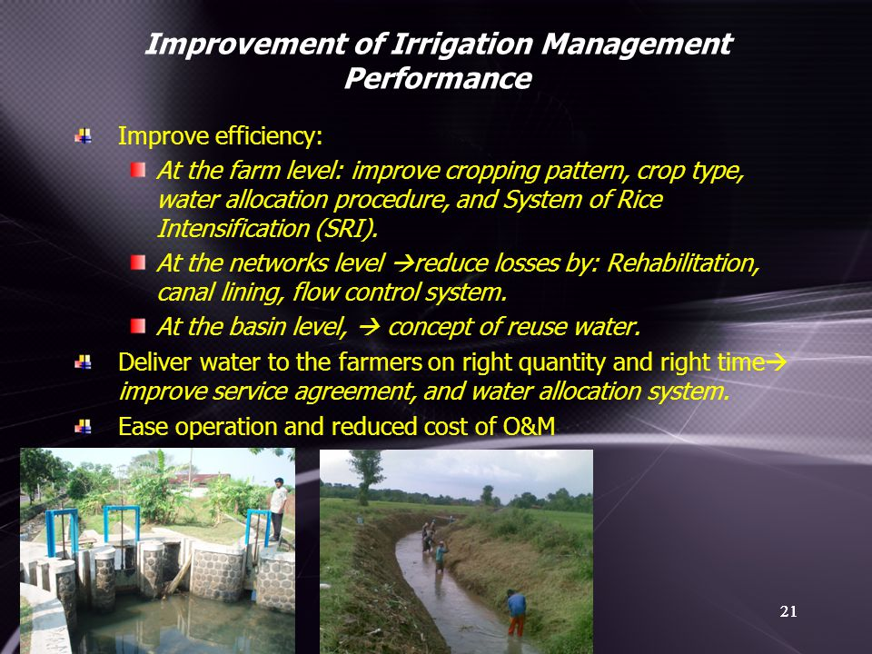 Improvement of Irrigation Management Performance