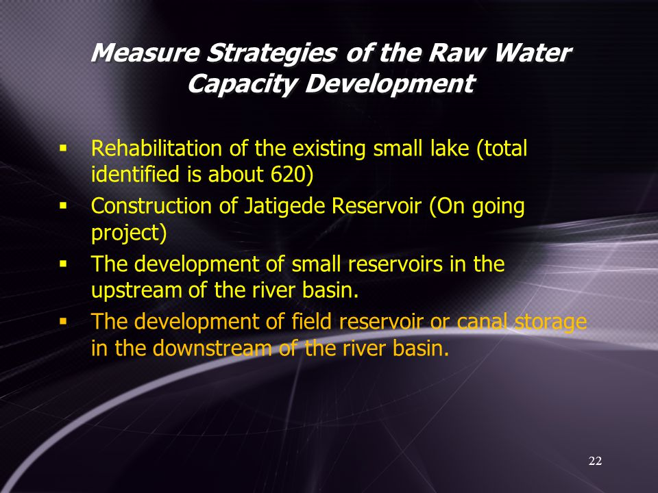 Measure Strategies of the Raw Water Capacity Development